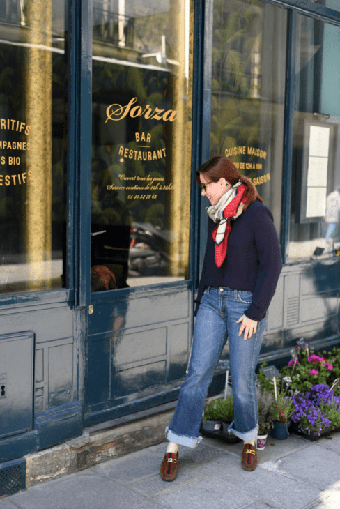 Leah Walker at Paris cafe and dog
